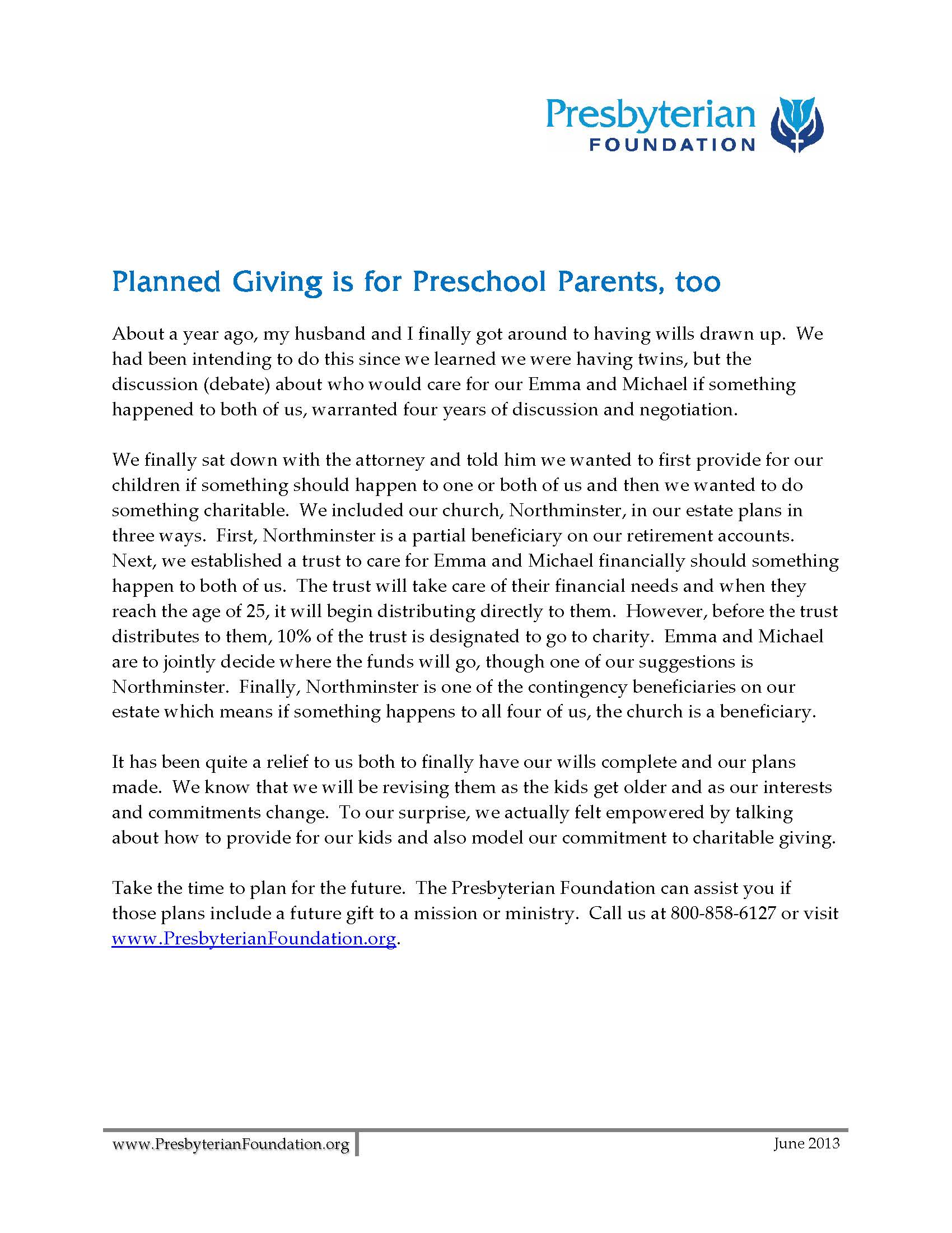 Toolbox Presbyterian Foundation - Planned giving brochures templates